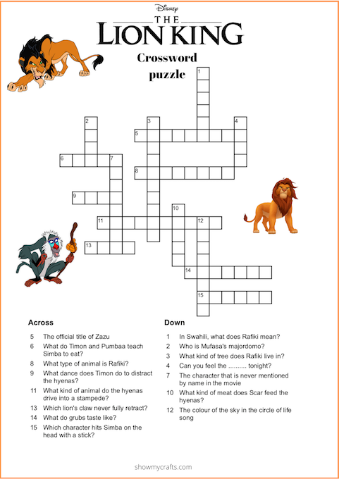 Lion King Word search, Word Scramble and Crossword puzzle ...