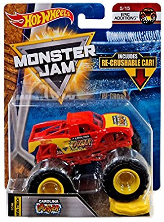 Hot Wheels Monster Jam 1 64 Scale Truck With Re Crushable Car Carolina Crusher Hot Wheels Monster Jam Monster Jam Hot Wheels