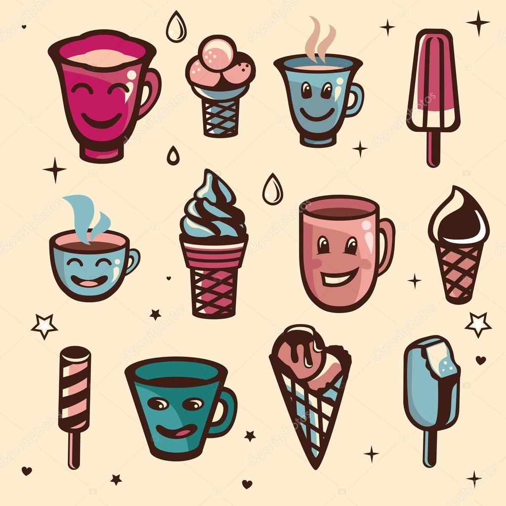 Vector set with ice cream and cups — Stock Illustration