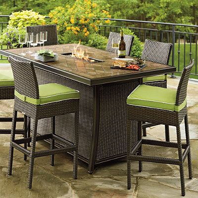 Palermo Counter Height Fire Table Outdoor Dining Room Fire Pit