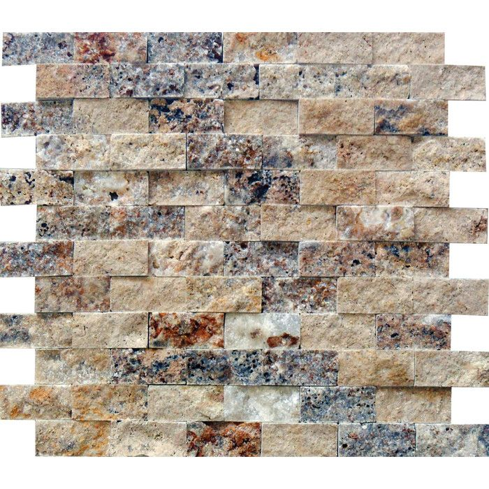 Split face tumbled stone backsplash 12x12 pieces saw on for Split face travertine kitchen backsplash