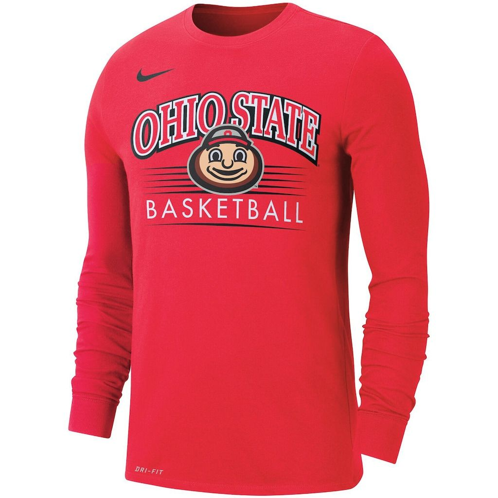 Men S Nike Scarlet Ohio State Buckeyes Basketball Retro Arch Performance Long Sleeve T Shirt Ohio State Buckeyes Basketball Dri Fit T Shirts Nike Men [ 1024 x 1024 Pixel ]