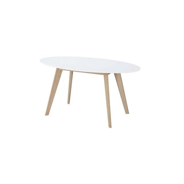 Table ovale 150cm blanche et bois clair LEENA - faire son plan de maison soi meme