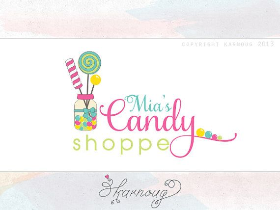 one of a kind custom premade candy shop logo design