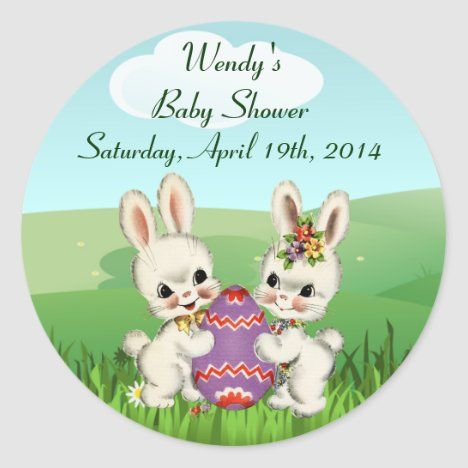 Easter Bunny Baby Shower Favor Stickers -   18 holiday Easter baby shower ideas