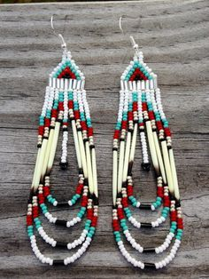 Items similar to Native American style beaded porcupine quill earrings on Etsy