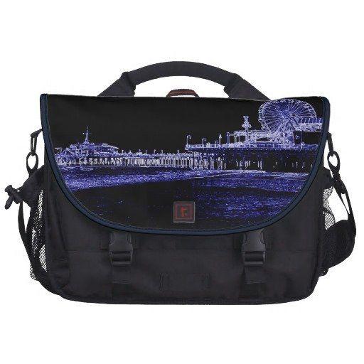 Santa Monica Pier Blue Neon Night Photo Edit Laptop Commuter Bag