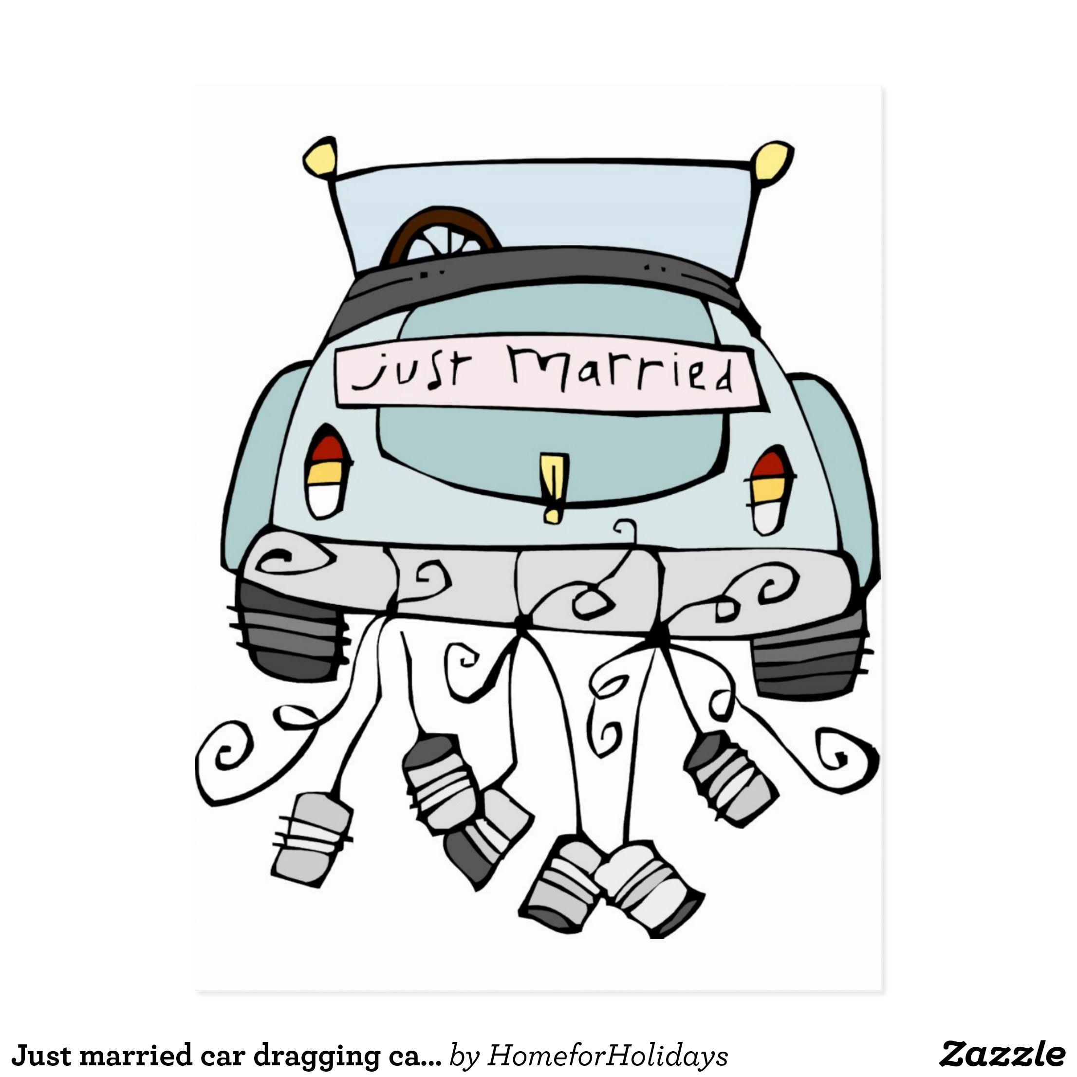 gerade schleppende dosen des verheirateten autos ank ndigungspostkarte geldgeschenke. Black Bedroom Furniture Sets. Home Design Ideas