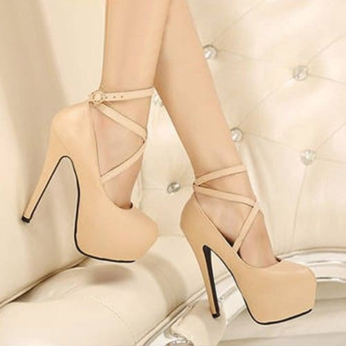 Sensuales Zapatos Plataforma Escondida Color Beige Con Hebilla Cruzadas 59d5d6a865e1