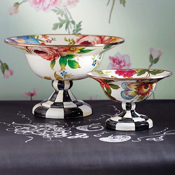 Flower Market Large Compote - White: Color-glazed and decorated with hand-applied fanciful botanical transfers that recall a lush English garden in the peak of summer. Hand-painted Courtly Check® base.