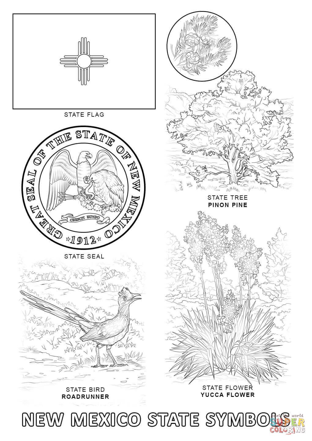 New Mexico State Symbols Super Coloring State Symbols Bird