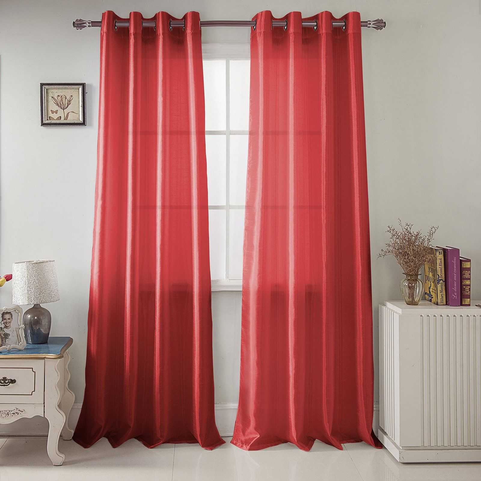 Rt Designers Collection Nancy Faux Silk Grommet Curtain Panel Red