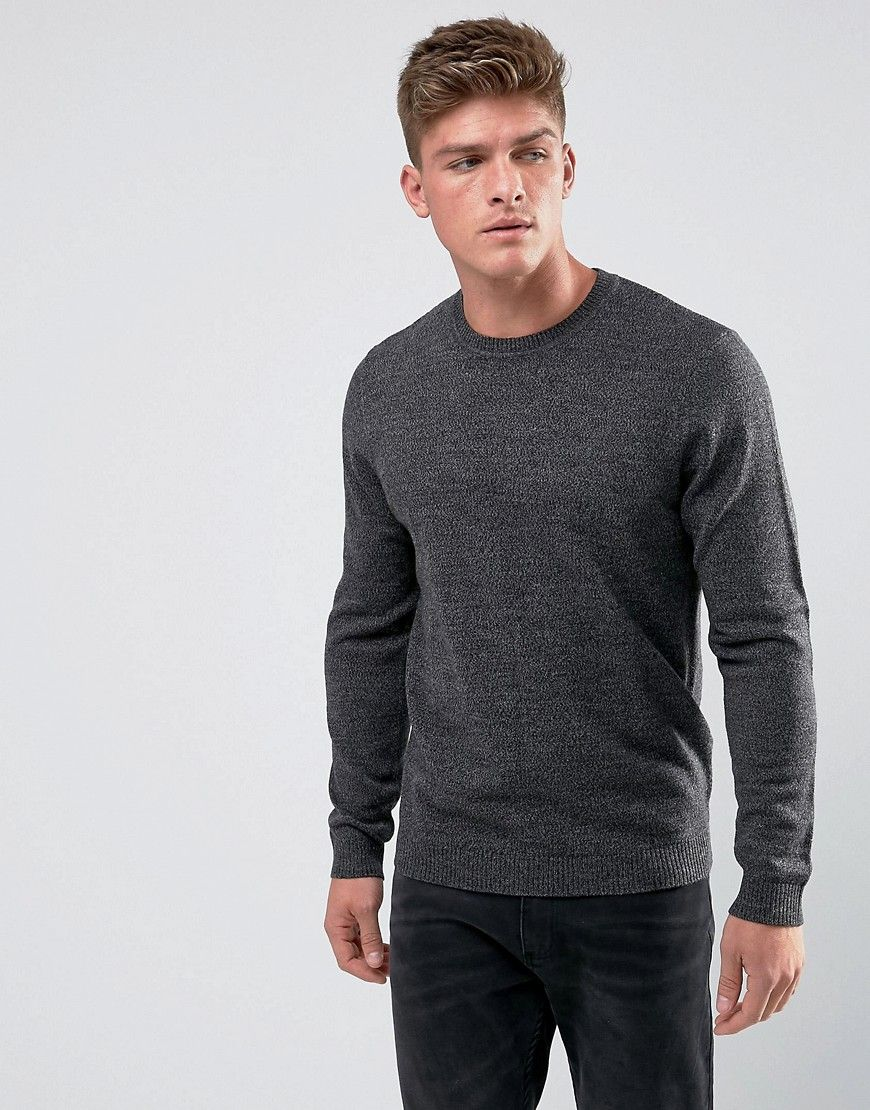 c14fc807ea13 DESIGN knitted crew neck sweater in charcoal | Mens tshirts | Men ...