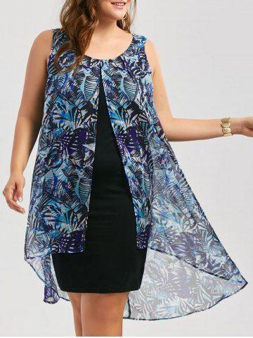 Chiffon Insert Layered Plus Size High Low Sleeveless Dress