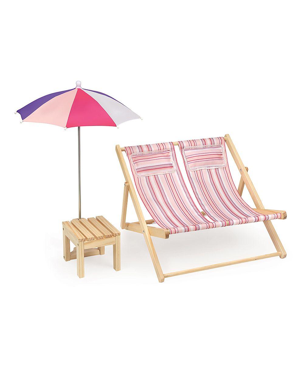 Summer Stripes Double Beach Chair Umbrella Set For 18 Dolls Zulily Plyazhnye Kresla Mebel Dlya Kukol Stul