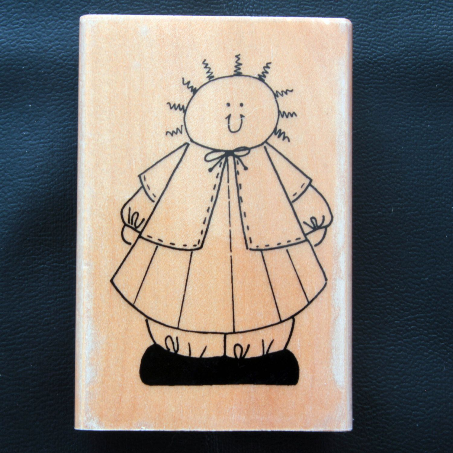 Rubber stamps for crafting - Cute Cartoon Man With Curly Hair In Smock Rubber Stamp By Home And Heart By