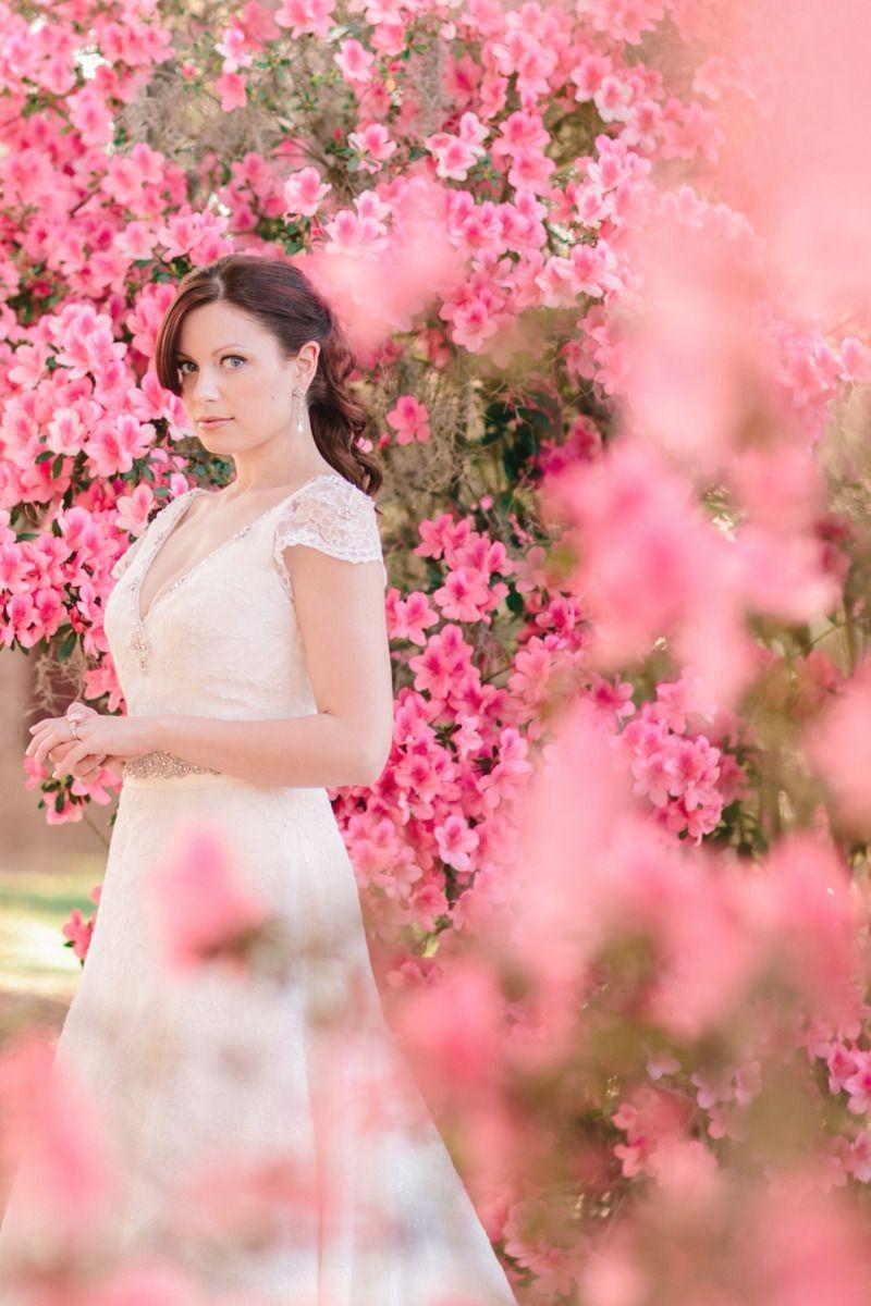 An elegant spring bride amid Charleston's azaleas.