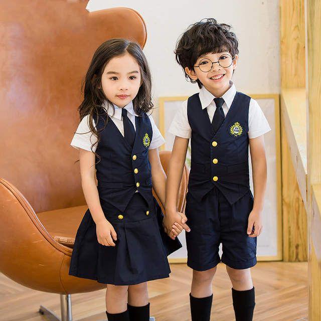 bba6bf4413 Children Korean Japanese Student Formal Preppy School Uniforms for Girls  Boys Kids Shirt Waistcoast Skirt Pants