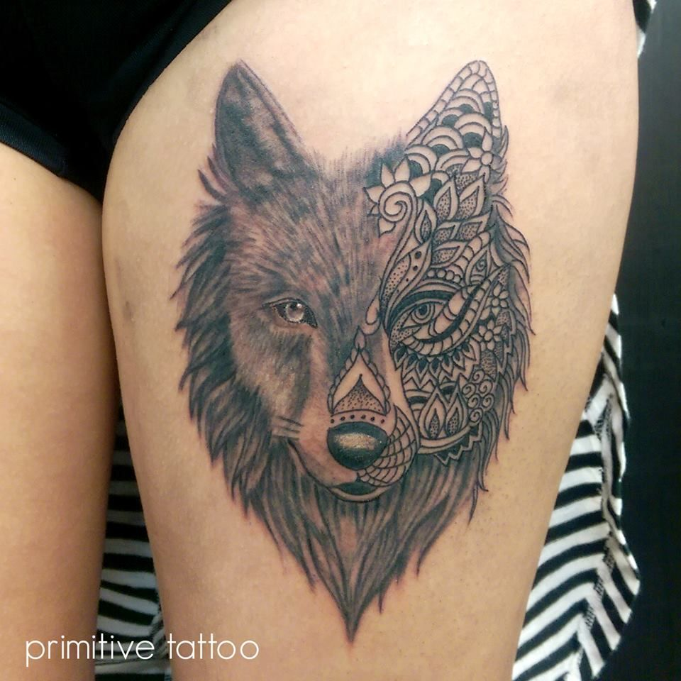 Mandala Wolf By Petra @ Primitive Tattoo Studio Perth On