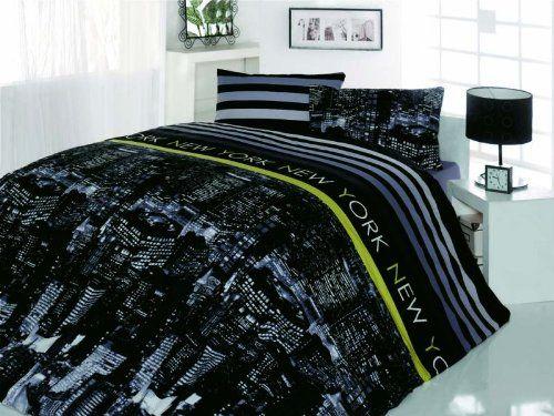 100 Cotton 4pcs New York Nights Double Size Duvet Cover Set City Lights Theme Bedding Linens