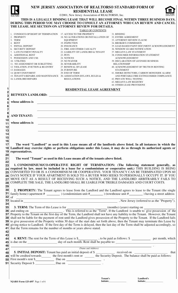 Residential Rental Agreement form Fresh Free New Jersey
