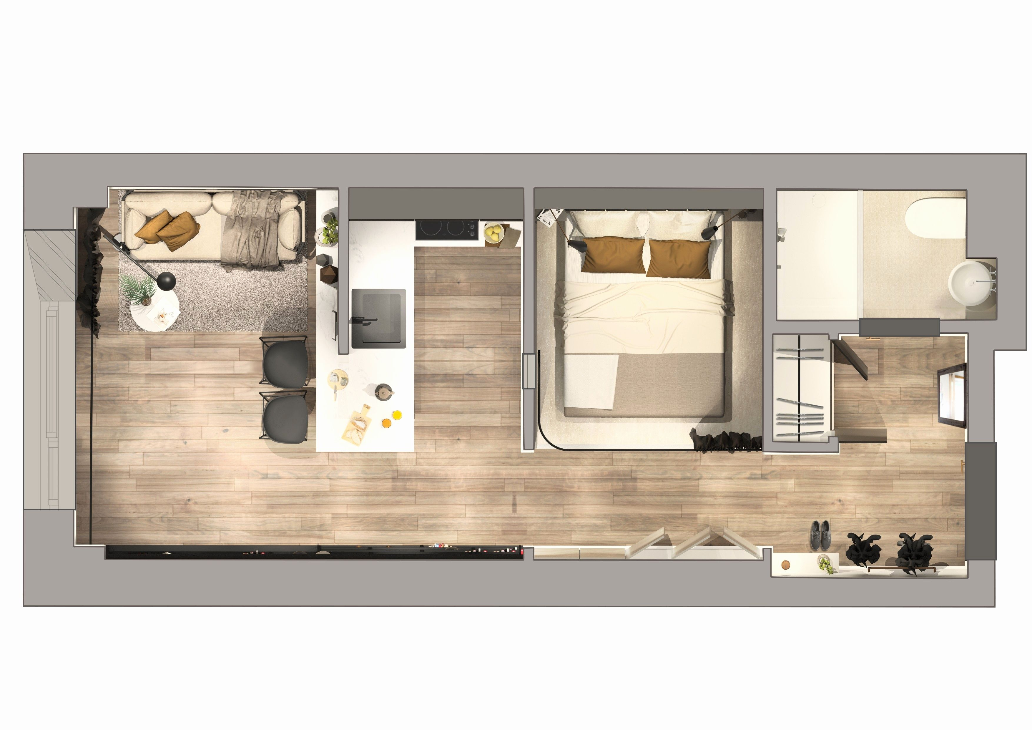 Amenager Studio 30 M2 | Интерьер зала 18 кв м двери потолок ...