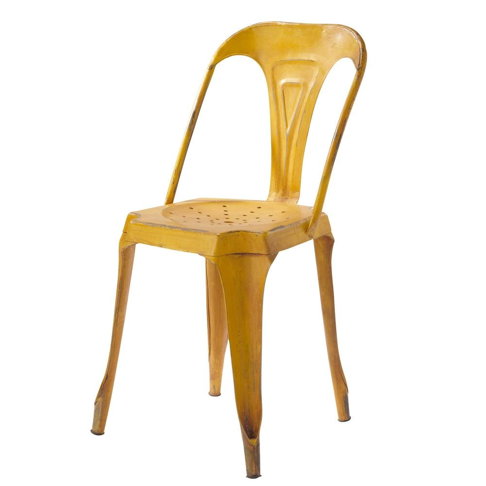 chaise indus en mtal jaune maisons du monde