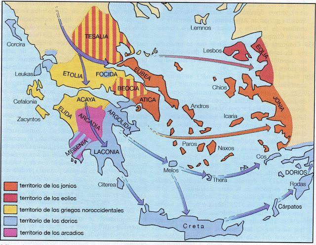 Grecia - Época oscura - Migraciones y dialectos   Historia