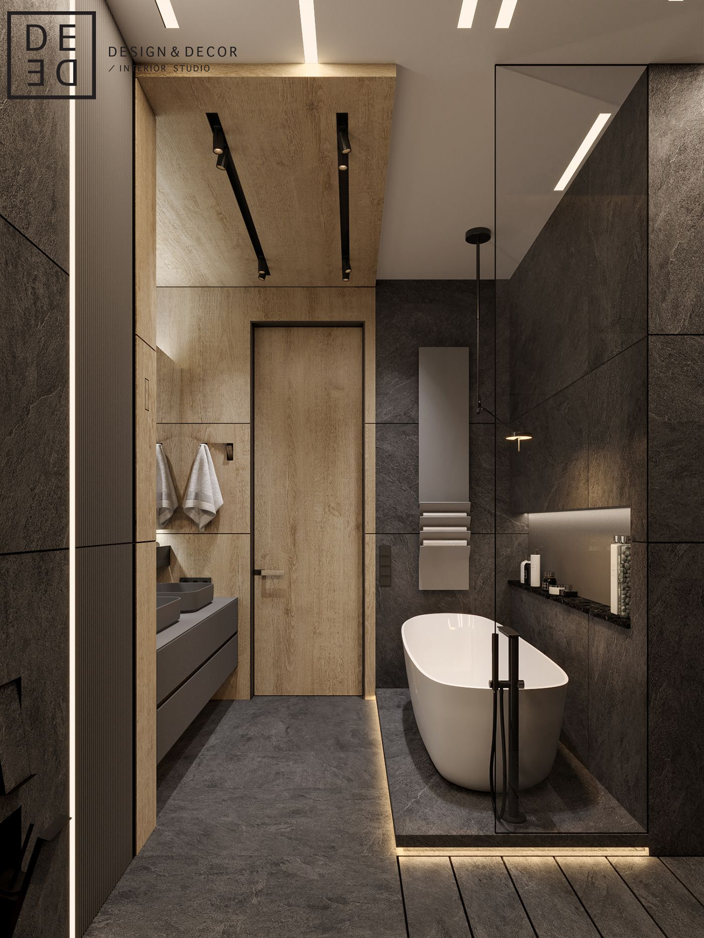 De De Georgeous Minimalism With Wooden Accents On Behance Banyo
