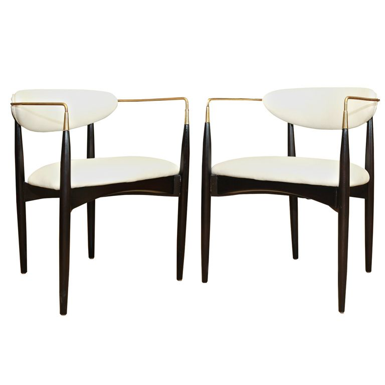 Pair Of Kofod Larsen Chairs In Wood And Brass