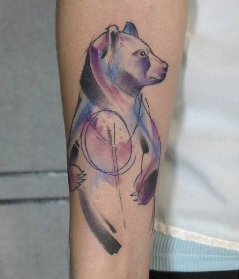 Abstract / watercolor style bear tattoo on the forearm ... Watercolor Bear Tattoo