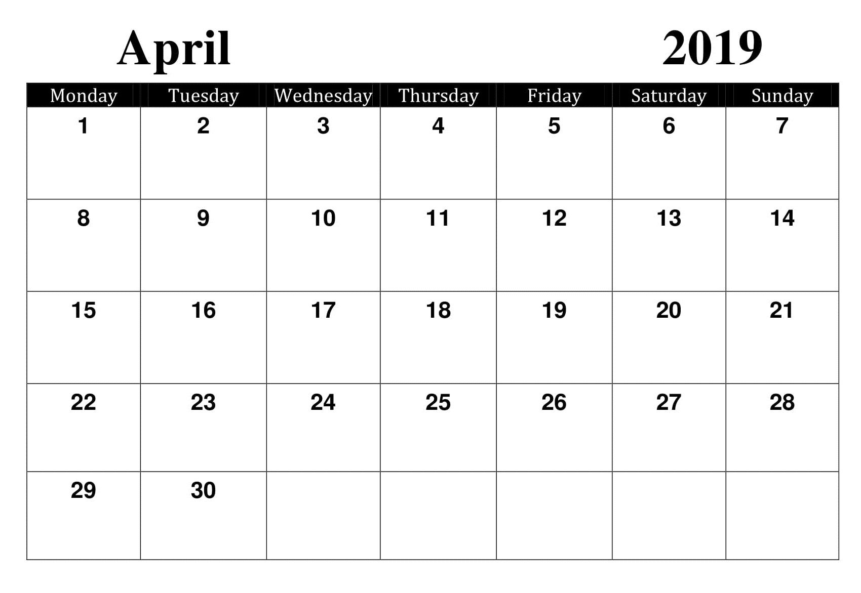 April Printable Worksheet Calendar
