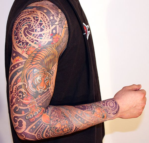 Tattoo Designs Background: Daemonic Japanese Tiger And Koi Energy Wave Patterns In