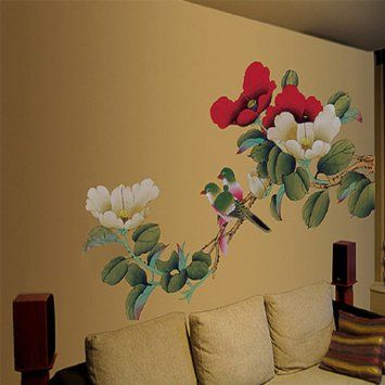 Large Peony Flowers Wall Stickers Home Decor Adhesive Decorative