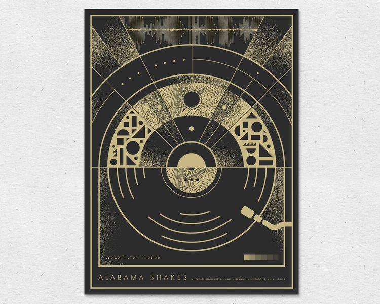 "http://www.nerlsaysdesign.com/#/alabama-shakes/  Nerl Says Design / Alabama Shakes   /  Hall's Island - Minneapolis, MN   /  18"" x 24""  /  1 color-screen print  /  Edition of 180 / 2015"