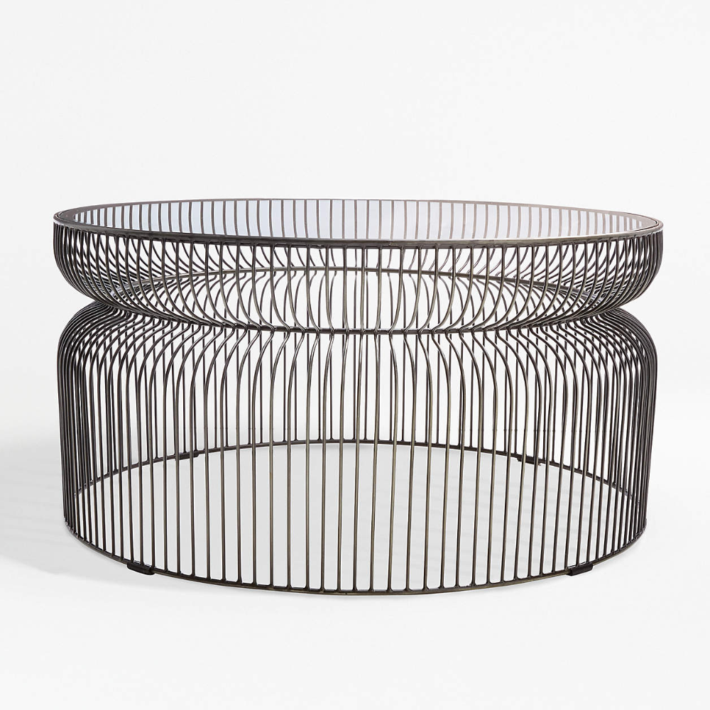 Spoke Glass Graphite Metal Coffee Table Reviews Crate And Barrel In 2021 Metal Coffee Table Wire Coffee Table Crate And Barrel [ 1000 x 1000 Pixel ]