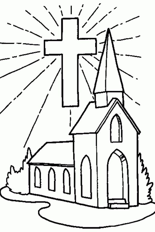 Church Coloring Pages For Kids Cross Coloring Page, Sunday School Coloring  Pages, Easter Coloring Pages