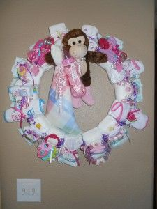 Girls~ Pink & Purple Large Diaper Wreath with Monkey