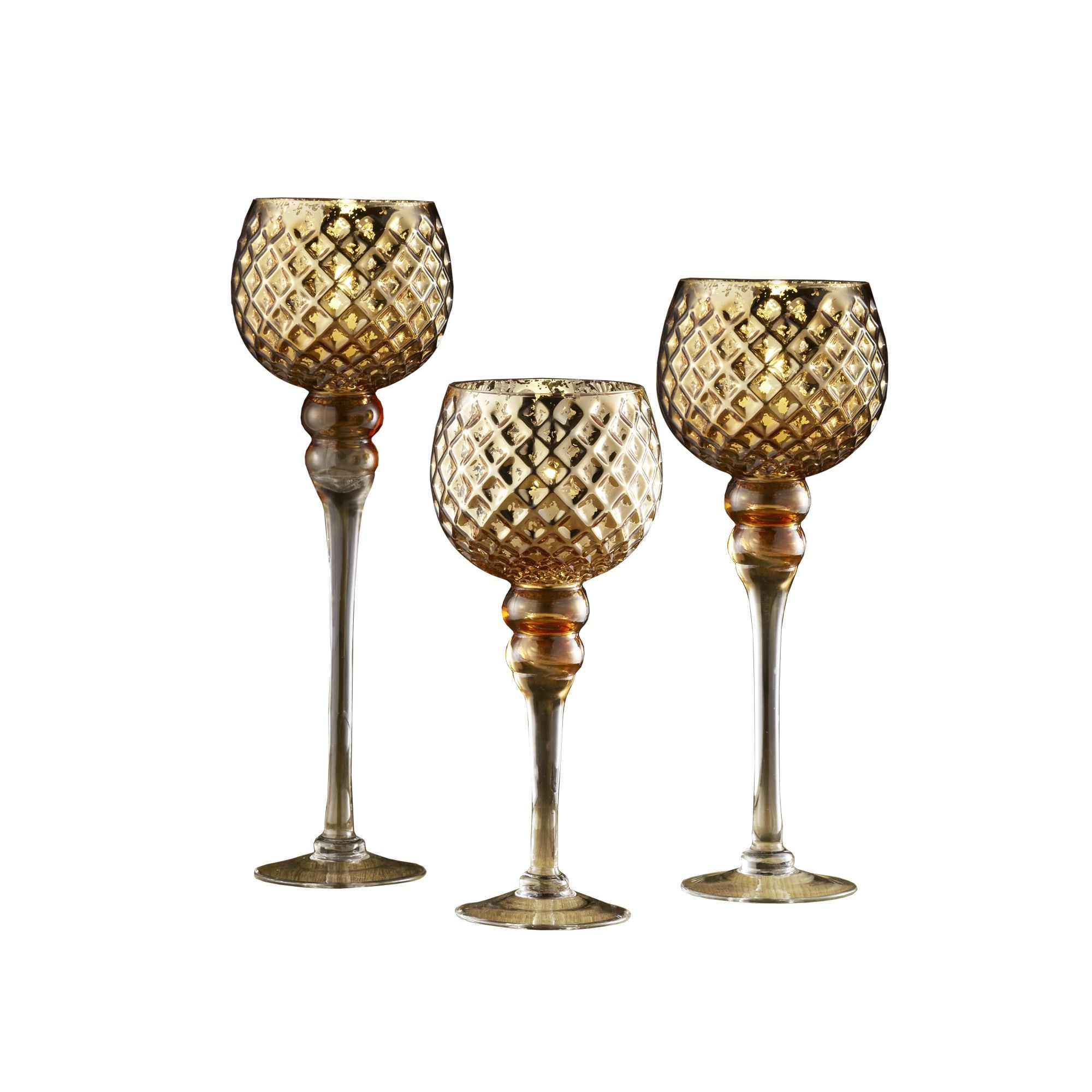 Crystal clear goldtone glass candle holders set of quilted