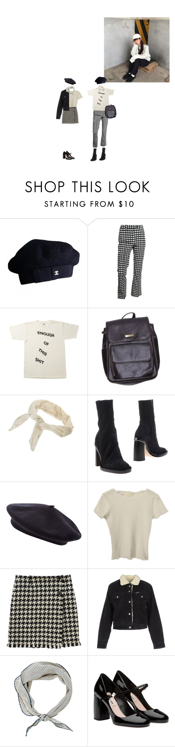 """turn ur magic on"" by rojinnn ❤ liked on Polyvore featuring Chanel, John Galliano, American Apparel, Dorothy Perkins, Ann Demeulemeester, Pepe Jeans London, Hermès and Miu Miu"