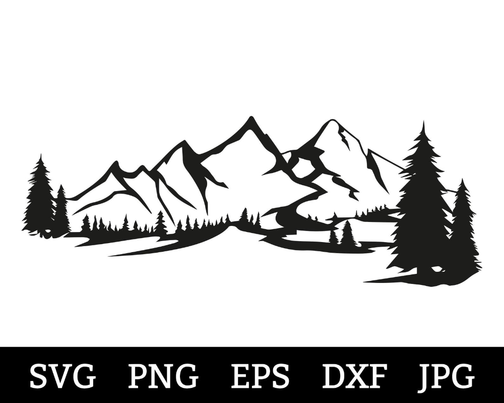 Mountain SVG DXF Mountain Forest SVG Pine Trees Pacific