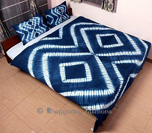 Indian Tie Dye Shibori Quilt Bedding Set Throw Reversible Double Duvet Cover