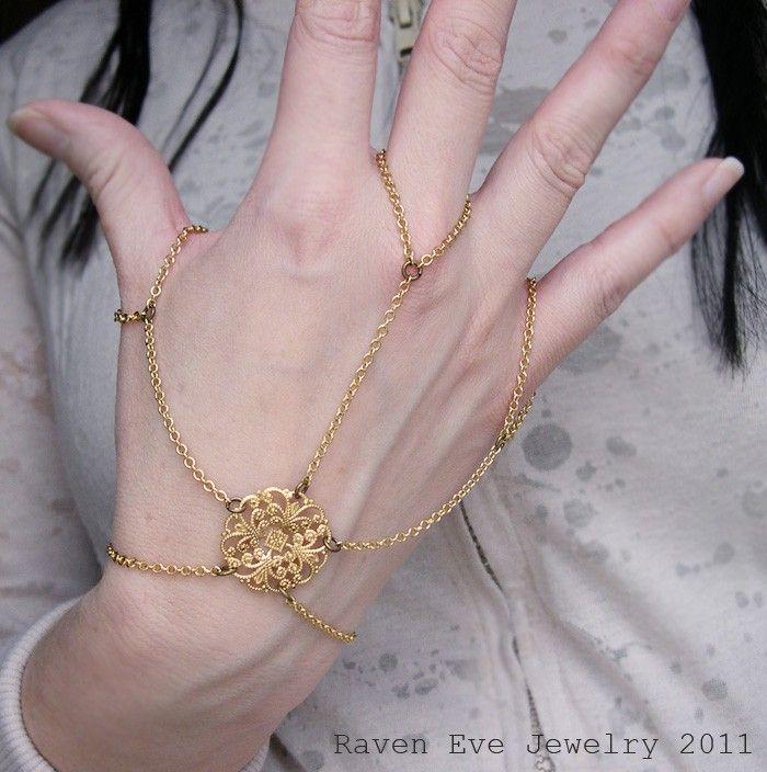Spinnerete Gothic Flourish Filigree Hand Flower Slave Bracelet
