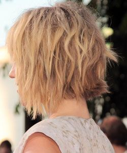 Dianna Agrons haircut with wavy bob and shag crossed hairstyle in