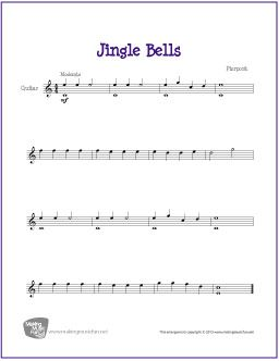 Jingle Bells Sheet Music Guitar For Beginners Guitar Sheet Music
