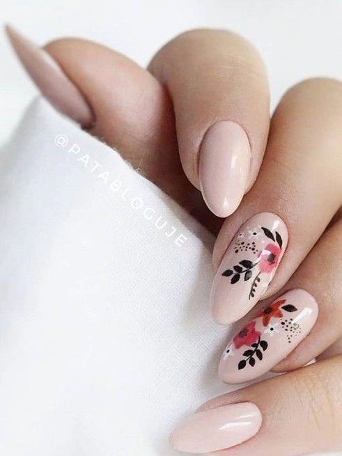 Nail inspiration pink flower nail design #nailsspring