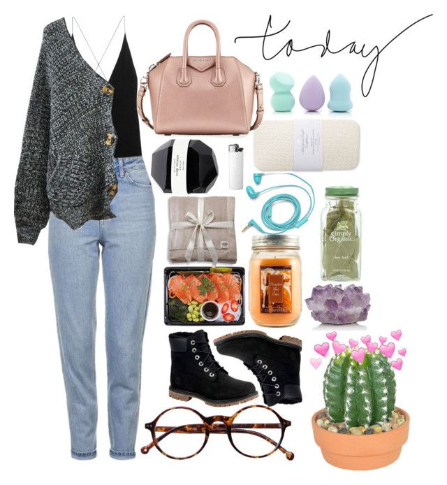 """""""Today's Outfit"""" by carlybae ❤ liked on Polyvore featuring Holiday Memories, McCoy Design, FOSSIL, American Eagle Outfitters, UGG, Givenchy, Forever 21, Timberland, The French Bee and Dion Lee"""