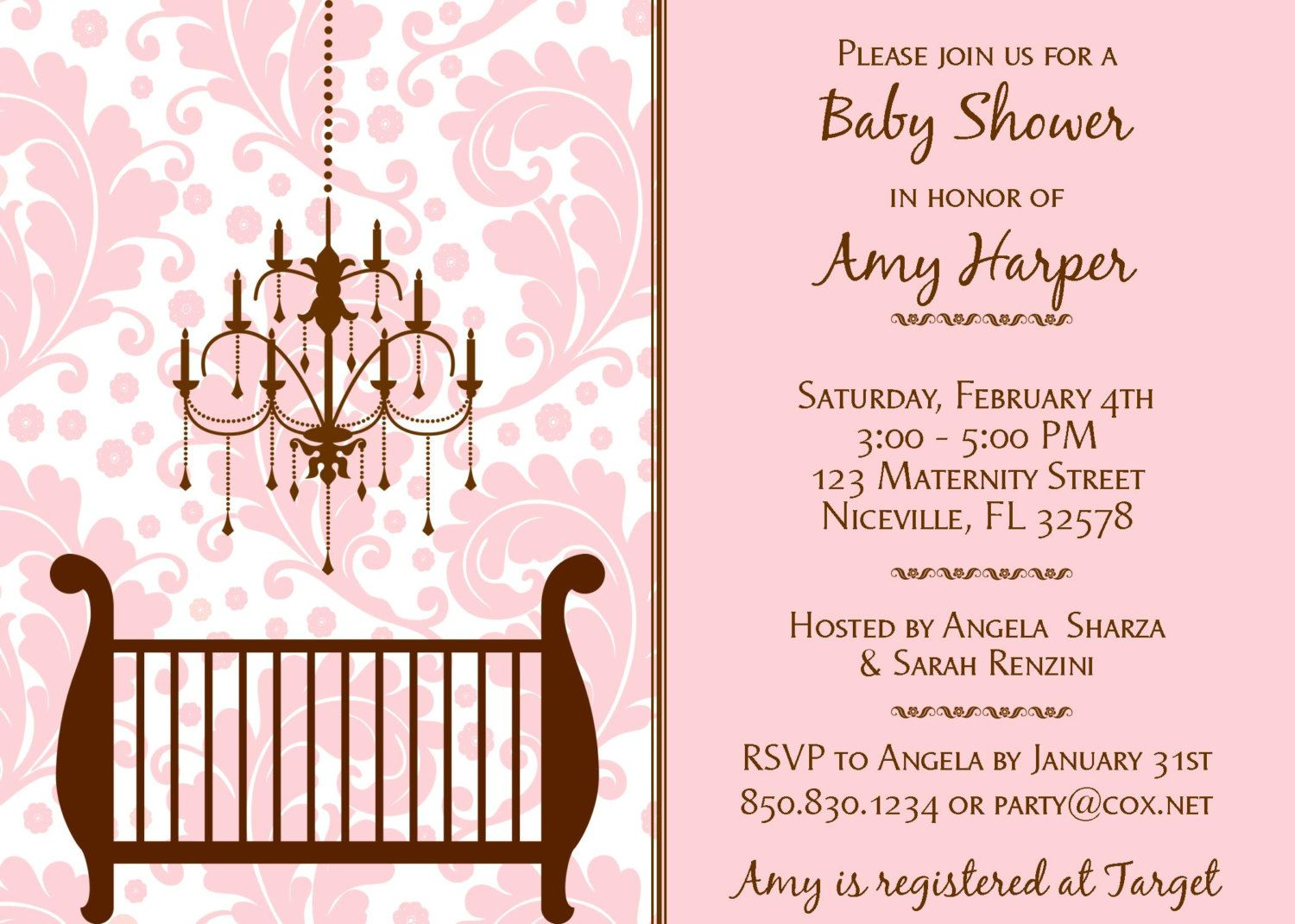 DAMASK PINK & BROWN. Baby Shower Invitation. Printable Party ...
