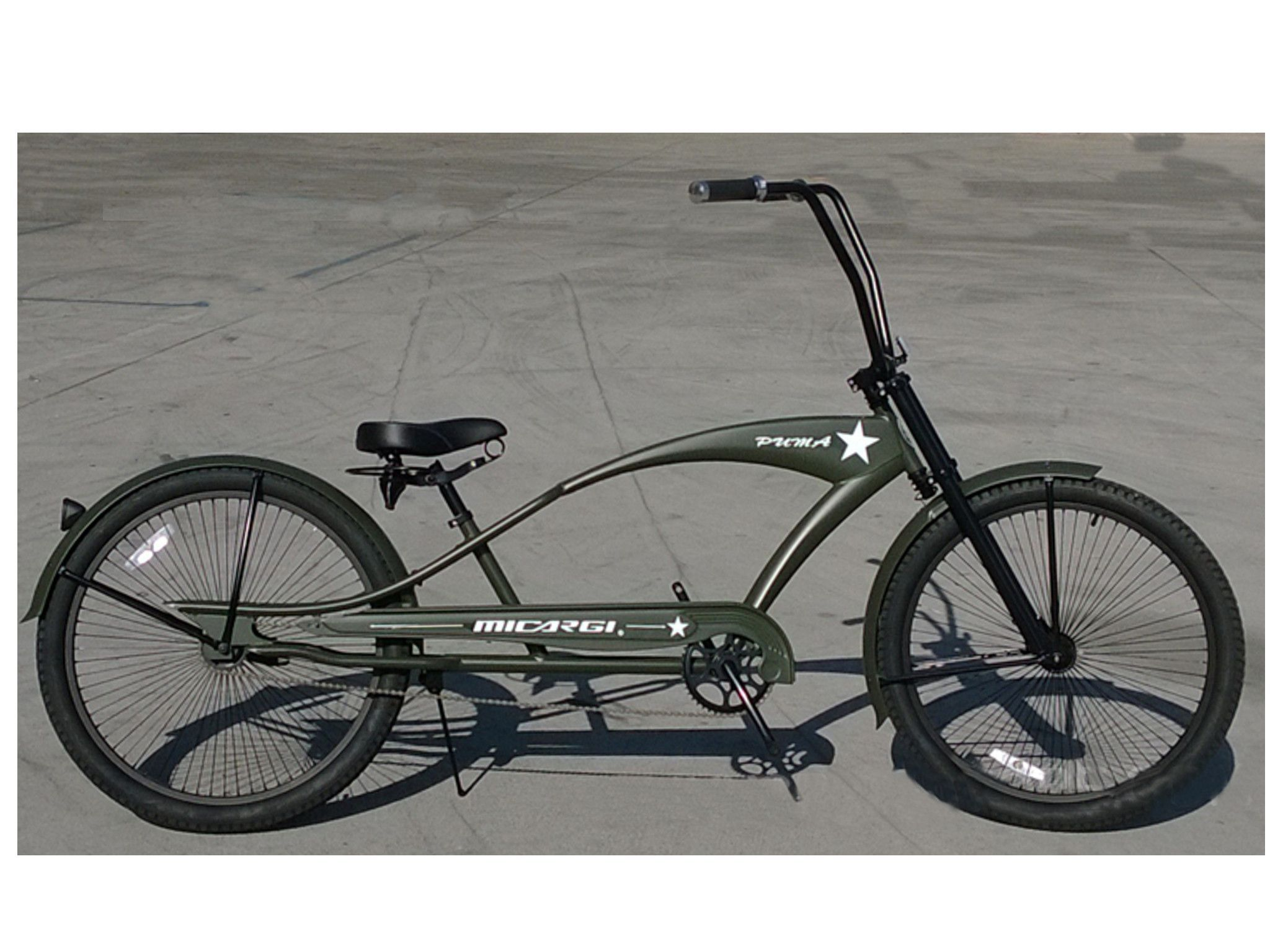 Micargi puma 26 stretch beach cruiser single speed bike matte army green