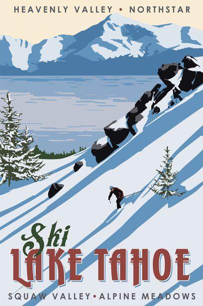POSTER WINTER SPORT SKI DAVOS SWITZERLAND ALPS SKIING VINTAGE REPRO FREE S//H